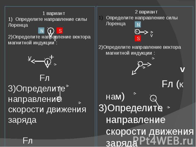 1 вариант1) Определите направление силы Лоренца 2)Определите направление вектора магнитной индукции : v + Fл3)Определите направление скорости движения заряда Fл x x x x x x x x x x x x В 4) С какой скоростью движется в однородном поле с магнитной ин…