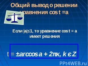 Общий вывод о решении уравнения cos t =a Если |а|≤1, то уравнение cos t = a имее