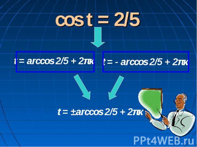 cos t = 2/5 t = arccos 2/5 + 2πκ t = - arccos 2/5 + 2πκ t = ±arccos 2/5 + 2πκ