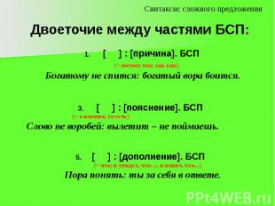 Двоеточие между частями БСП: [ ] : [причина]. БСП (= потому что; так как) Богато