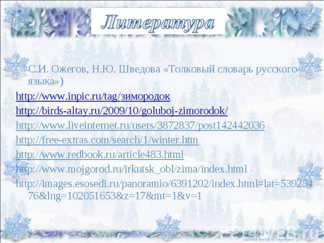 Литература С.И. Ожегов, Н.Ю. Шведова «Толковый словарь русского языка») http://www.inpic.ru/tag/зимородокhttp://birds-altay.ru/2009/10/goluboj-zimorodok/http://www.liveinternet.ru/users/3872837/post142442036http://free-extras.com/search/1/winter.htm…