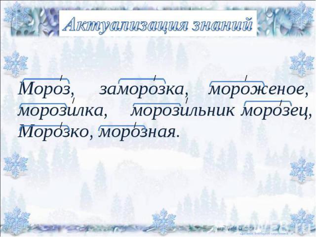 Актуализация знаний Мороз, заморозка, мороженое,морозилка, морозильник морозец, Морозко, морозная.