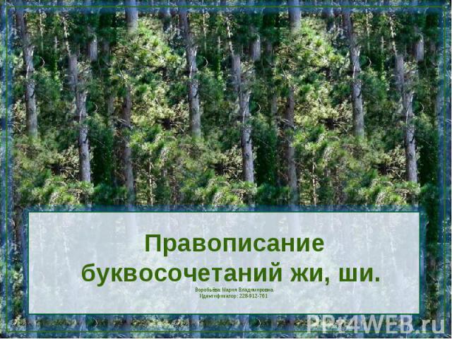 Правописание буквосочетаний жи, ши. Воробьёва Мария ВладимировнаИдентификатор: 228-912-761