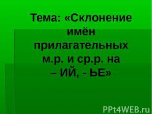 Тема: «Склонение имён прилагательных м.р. и ср.р. на – ИЙ, - ЬЕ»