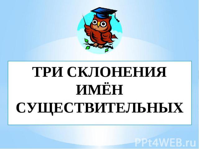 ТРИ СКЛОНЕНИЯ ИМЁН СУЩЕСТВИТЕЛЬНЫХ
