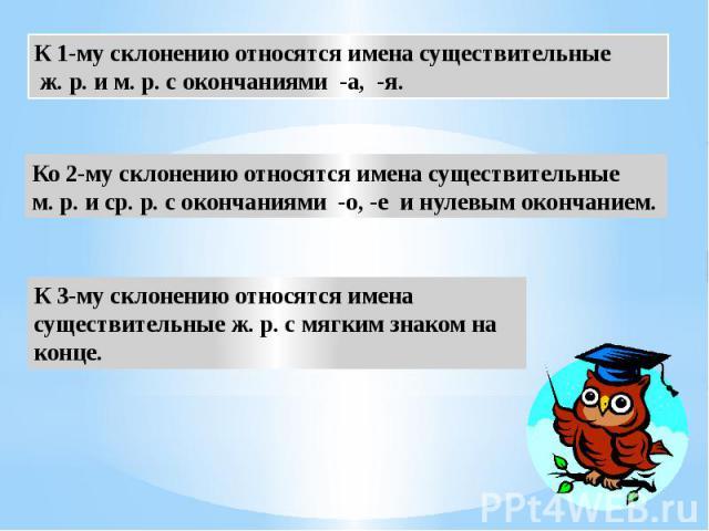 К 1-му склонению относятся имена существительные ж. р. и м. р. с окончаниями -а, -я. Ко 2-му склонению относятся имена существительные м. р. и ср. р. с окончаниями -о, -е и нулевым окончанием. К 3-му склонению относятся имена существительные ж. р. с…
