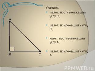 Укажите: катет, противолежащий углу С, катет, прилежащий к углу С,катет, противо