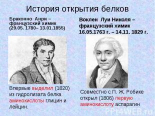 История открытия белков Браконно Анри –французский химик(29.05. 1780– 13.01.1855