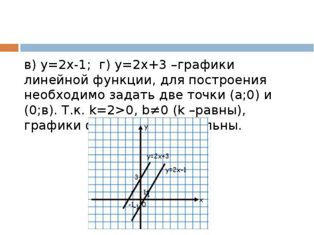 в) у=2х-1; г) у=2х+3 –графики линейной функции, для построения необходимо задать две точки (а;0) и (0;в). Т.к. k=2>0, b≠0 (k –равны), графики функций параллельны.