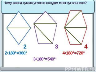 Чему равна сумма углов в каждом многоугольнике? 2•180°=360° 3•180°=540° 4•180°=7