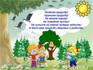 Любите природу!Храните природу!Не жгите траву!Не ломайте кусты!Не сыпьте на земл