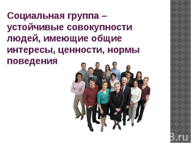Социальная группа – устойчивые совокупности людей, имеющие общие интересы, ценности, нормы поведения