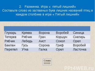 2. Разминка. Игра « пятый лишний»Составьте слово из заглавных букв лишних назван
