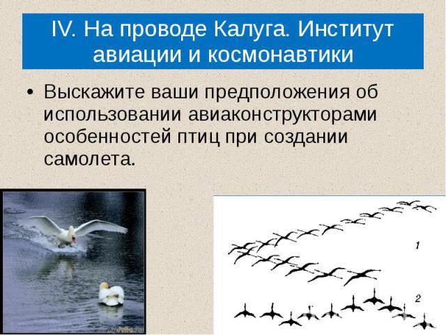 IV. На проводе Калуга. Институт авиации и космонавтики Выскажите ваши предположения об использовании авиаконструкторами особенностей птиц при создании самолета.