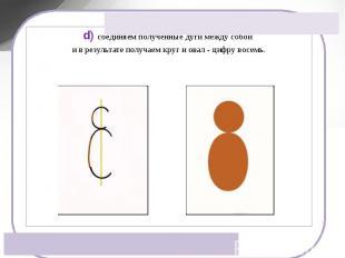 d) соединяем полученные дуги между собой и в результате получаем круг и овал - ц