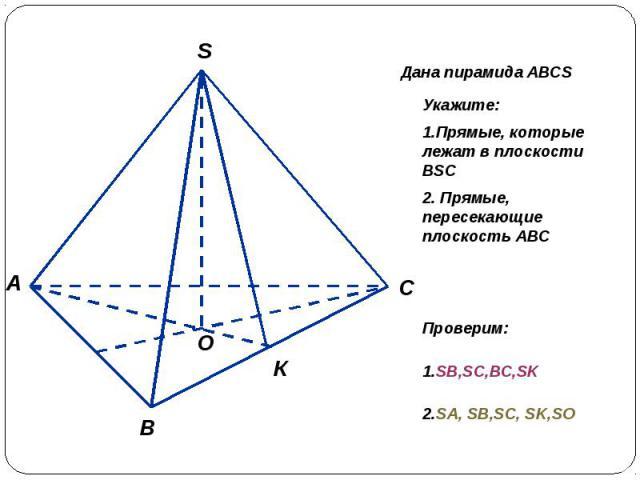 Укажите:1.Прямые, которые лежат в плоскости BSC2. Прямые, пересекающие плоскость АВСПроверим: 1.SB,SC,BC,SK 2.SA, SB,SC, SK,SO