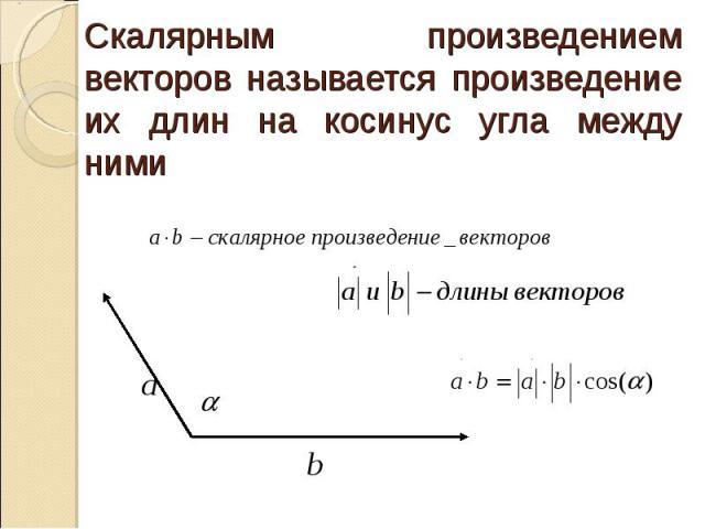 Скалярным произведением векторов называется произведение их длин на косинус угла между ними