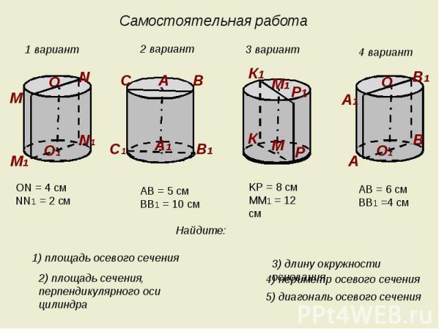 Самостоятельная работа ON = 4 cмNN1 = 2 cм AB = 5 cмBB1 = 10 cм KP = 8 cмMM1 = 12 cм AB = 6 cмBB1 =4 cм Найдите: 1) площадь осевого сечения 2) площадь сечения, перпендикулярного оси цилиндра 3) длину окружности основания 4) периметр осевого сечения …