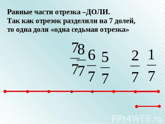 Равные части отрезка –ДОЛИ.Так как отрезок разделили на 7 долей, то одна доля «одна седьмая отрезка»