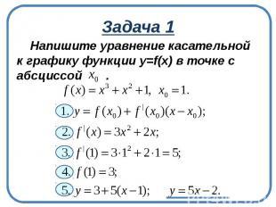 Задача 1Напишите уравнение касательной к графику функции у=f(x) в точке с абсцис