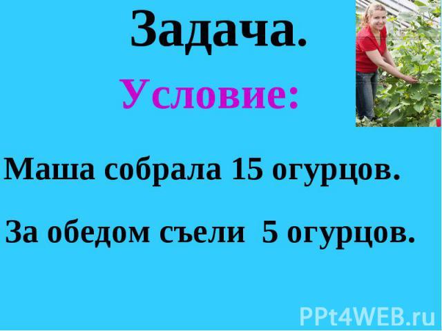 Задача. Условие: Маша собрала 15 огурцов. За обедом съели 5 огурцов.