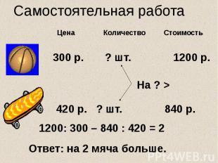 Самостоятельная работа Цена Количество Стоимость 300 р. ? шт. 1200 р. 420 р. ? ш