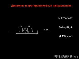 Движение в противоположных направлениях 1) S=(U1-U2)•t 2) d=d0+Uуд•t 3) d=d0-Uсб