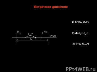 Встречное движение 1) S=(U1-U2)•t 2) d=d0+Uуд•t 3) d=d0-Uсбл•t