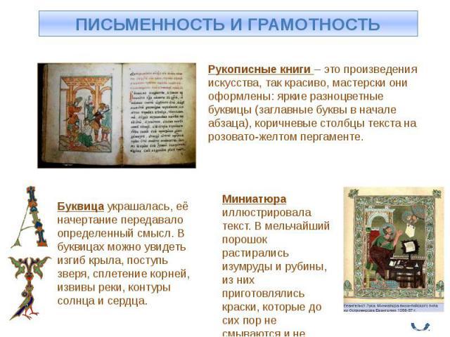 Рукописные книги – это произведения искусства, так красиво, мастерски они оформлены: яркие разноцветные буквицы (заглавные буквы в начале абзаца), коричневые столбцы текста на розовато-желтом пергаменте. Буквица украшалась, её начертание передавало …