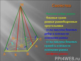 Свойства - боковые ребра равны- боковые граниравные равнобедренныетреугольники-