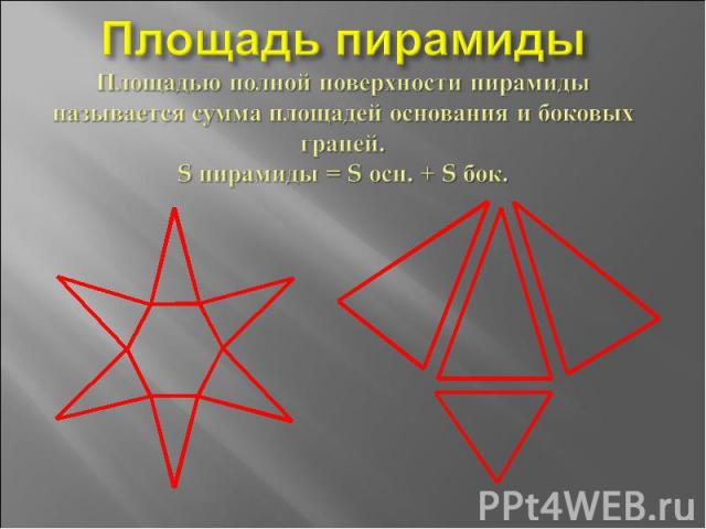Площадь пирамидыПлощадью полной поверхности пирамидыназывается сумма площадей основания и боковых граней.S пирамиды = S осн. + S бок.