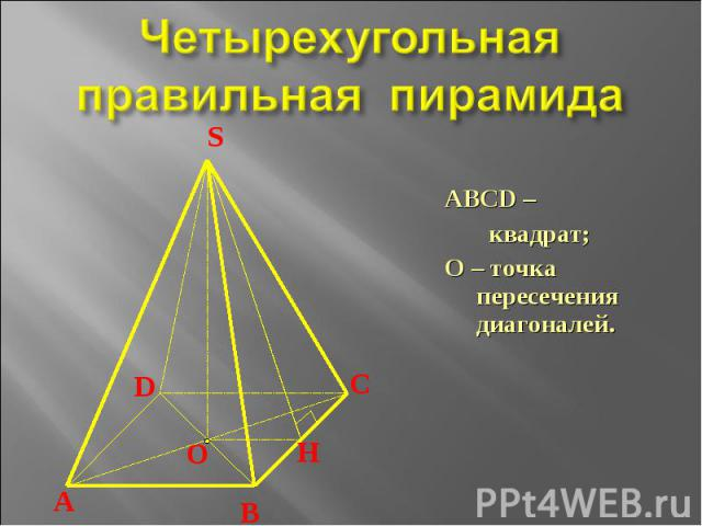 Четырехугольная правильная пирамида ABCD – квадрат;О – точка пересечения диагоналей.