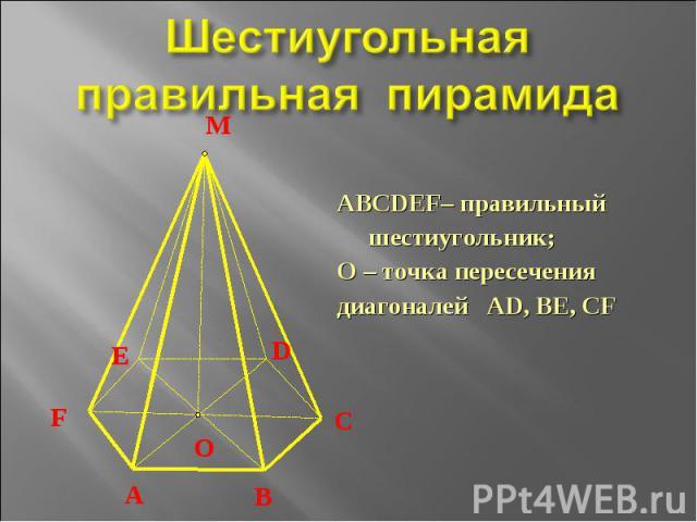 Шестиугольная правильная пирамида ABCDЕF– правильныйшестиугольник;О – точка пересечениядиагоналей AD, BE, CF