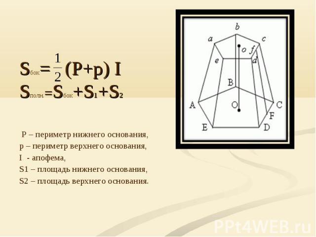 Sбок= (P+p) ISполн.=Sбок+S1+S2 P – периметр нижнего основания, р – периметр верхнего основания,I - апофема,S1 – площадь нижнего основания, S2 – площадь верхнего основания.