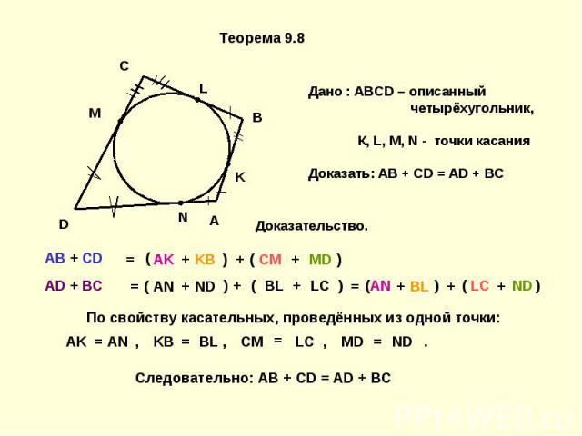 По свойству касательных, проведённых из одной точки: Следовательно: AB + CD = AD + BC