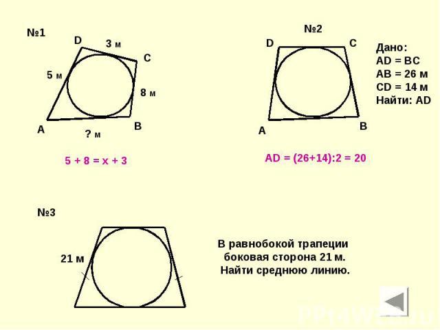5 + 8 = x + 3 АD = (26+14):2 = 20 Дано:AD = BCAB = 26 мCD = 14 мНайти: AD В равнобокой трапеции боковая сторона 21 м. Найти среднюю линию.