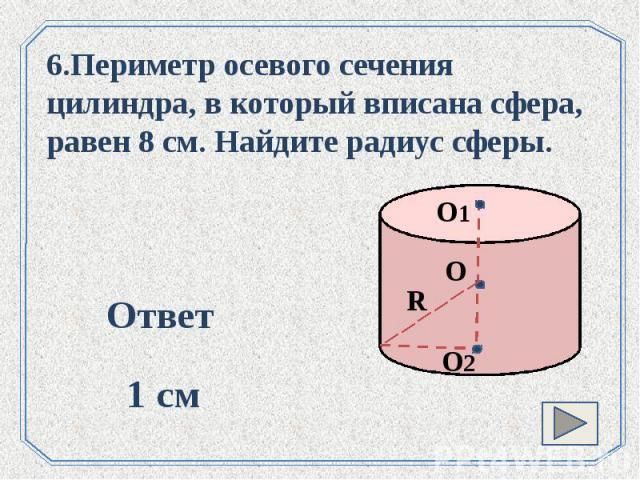 6.Периметр осевого сечения цилиндра, в который вписана сфера, равен 8 см. Найдите радиус сферы.