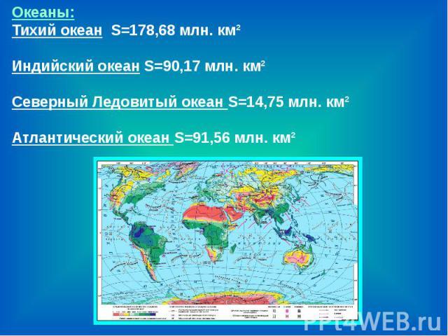 Океаны:Тихий океан S=178,68 млн. км²Индийский океан S=90,17 млн. км² Северный Ледовитый океан S=14,75 млн. км² Атлантический океан S=91,56 млн. км²