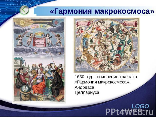 «Гармония макрокосмоса» 1660 год – появление трактата «Гармония макрокосмоса» Андреаса Целлариуса