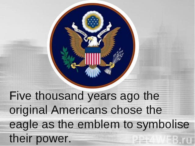 Five thousand years ago the original Americans chose the eagle as the emblem to symbolise their power.