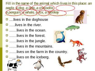 Fill in the name of the animal which lives in this place: an eagle, a dog, a cow