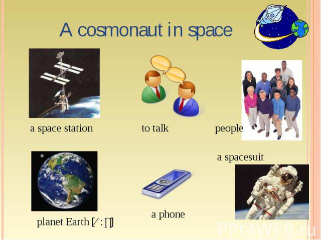 A cosmonaut in space a space station to talk people a spacesuit a phone planet Earth [ɜ:ɵ]