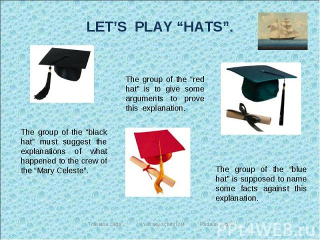 """LET'S PLAY """"HATS"""". The group of the """"black hat"""" must suggest the explanations of what happened to the crew of the """"Mary Celeste"""". The group of the """"red hat"""" is to give some arguments to prove this explanation. The group of the """"blue hat"""" is supposed…"""