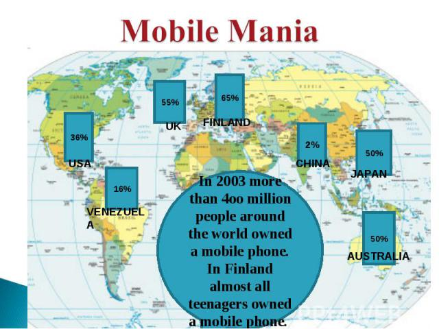 Mobile Mania In 2003 more than 4oo million people around the world owned a mobile phone. In Finland almost all teenagers owned a mobile phone.