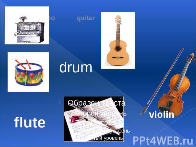 piano guitar drum flute violin
