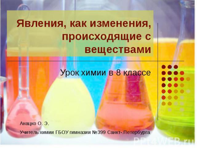 Явления, как изменения, происходящие с веществами Урок химии в 8 классе Анацко О. Э.Учитель химии ГБОУ гимназии №399 Санкт-.Петербурга