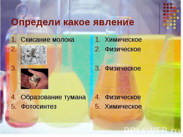 Определи какое явление Скисание молока..Образование туманаФотосинтез ХимическоеФизическоеФизическоеФизическоеХимическое