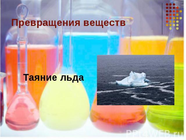 Превращения веществТаяние льда