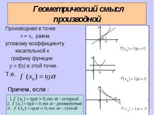 Геометрический смысл производной Производная в точке равна угловому коэффициенту