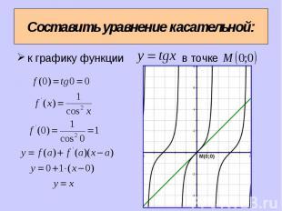 Составить уравнение касательной: к графику функции в точке